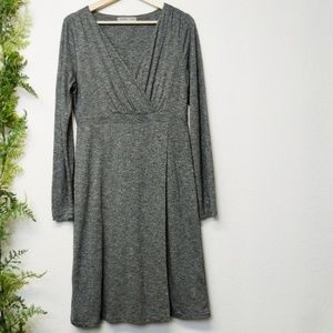 Athleta Wrap It Up Dress Long Sleeve Gray MT Tall
